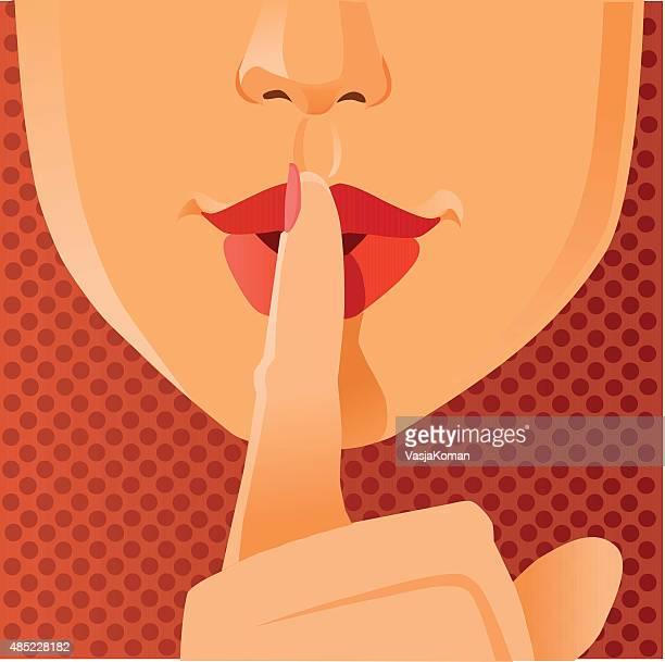 ilustrações, clipart, desenhos animados e ícones de gesto de silêncio por favor-close-up de rosto - silêncio