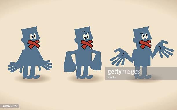 illustrations, cliparts, dessins animés et icônes de taire - homme soumis