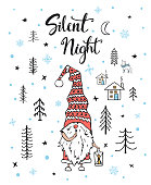 silent night handwritten hand drawn christmas greeting card background with cute gnome with beard in a woodland