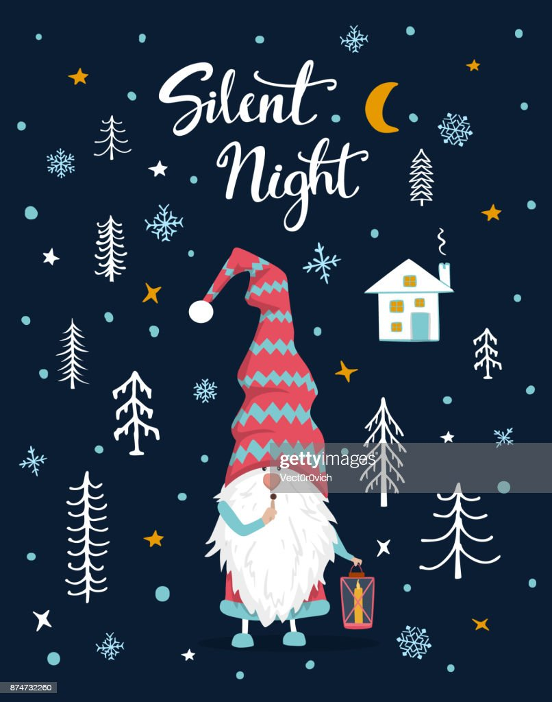 Silent night handwritten hand drawn xmas merry christmas greeting silent night handwritten hand drawn xmas merry christmas greeting card with cute gnome holding lantern in the night in woodland forest kristyandbryce Image collections