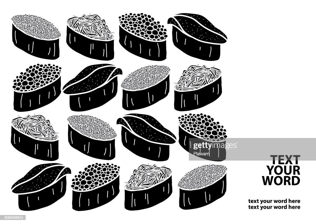 Silhouette 4 types of sushi with text on white background. Cover, poster or  paper plate mat design. Cute Japanese food hand drawn style.