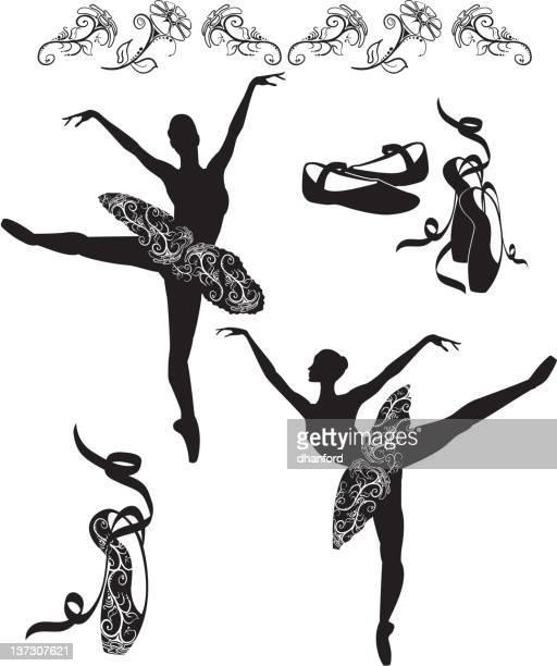 ilustraciones, imágenes clip art, dibujos animados e iconos de stock de silueta ballerinas en posición arabesca, blanco y negro - zapatilla de ballet