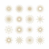 Silhouette beige poly gram stars icons set on white background