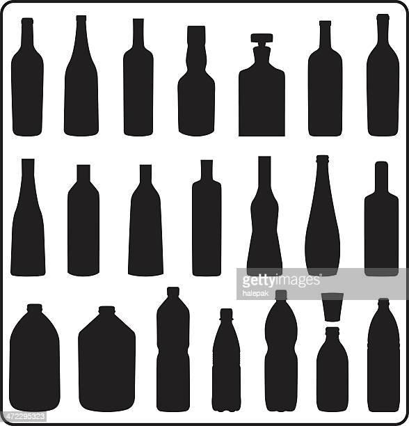 silhouette bottles - vodka drink stock illustrations, clip art, cartoons, & icons