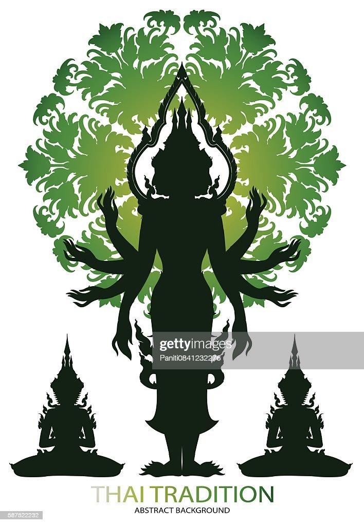 Silhouette Brahma rama and thai tradition pattern