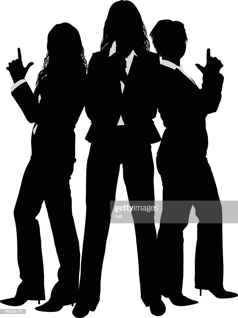 Silhouette businesswomen posing like Charlies Angels