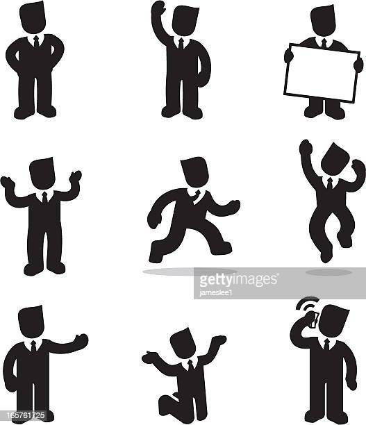 silhouette cartoon illustrations of businessman - shrugging stock illustrations, clip art, cartoons, & icons