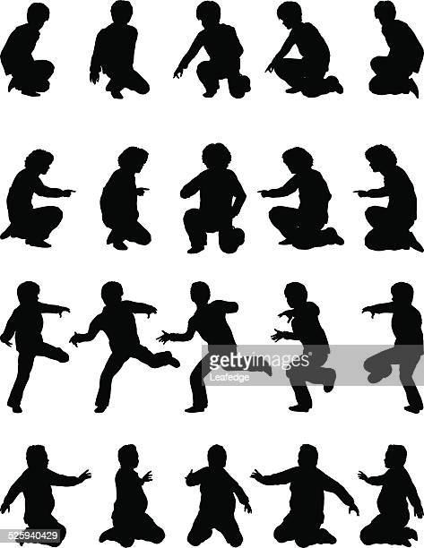 silhouette children [playing boys](winter version) - crouching stock illustrations, clip art, cartoons, & icons