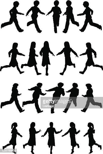 silhouette children [running girls](winter version) - women's track stock illustrations, clip art, cartoons, & icons