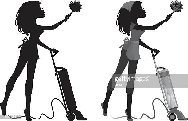 silhouette cleaning girl - vacuum cleaner stock illustrations, clip art, cartoons, & icons
