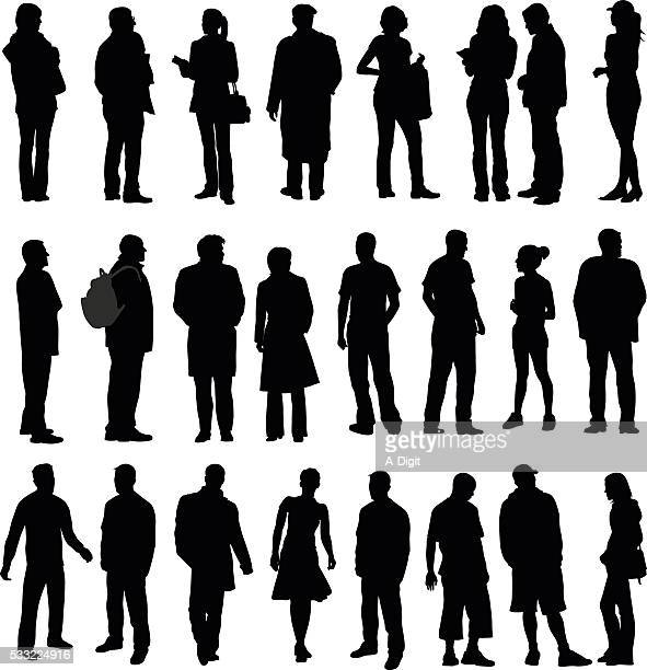 silhouette collection of various adults - mature adult stock illustrations