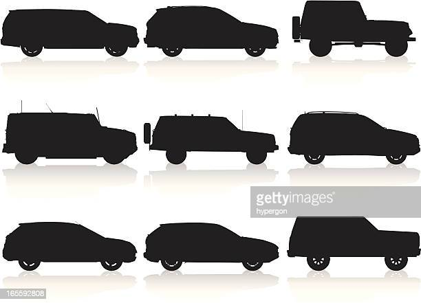 suv silhouette colllection - suv stock illustrations, clip art, cartoons, & icons