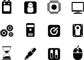 Silhouette Computer and mobile phone elements icons