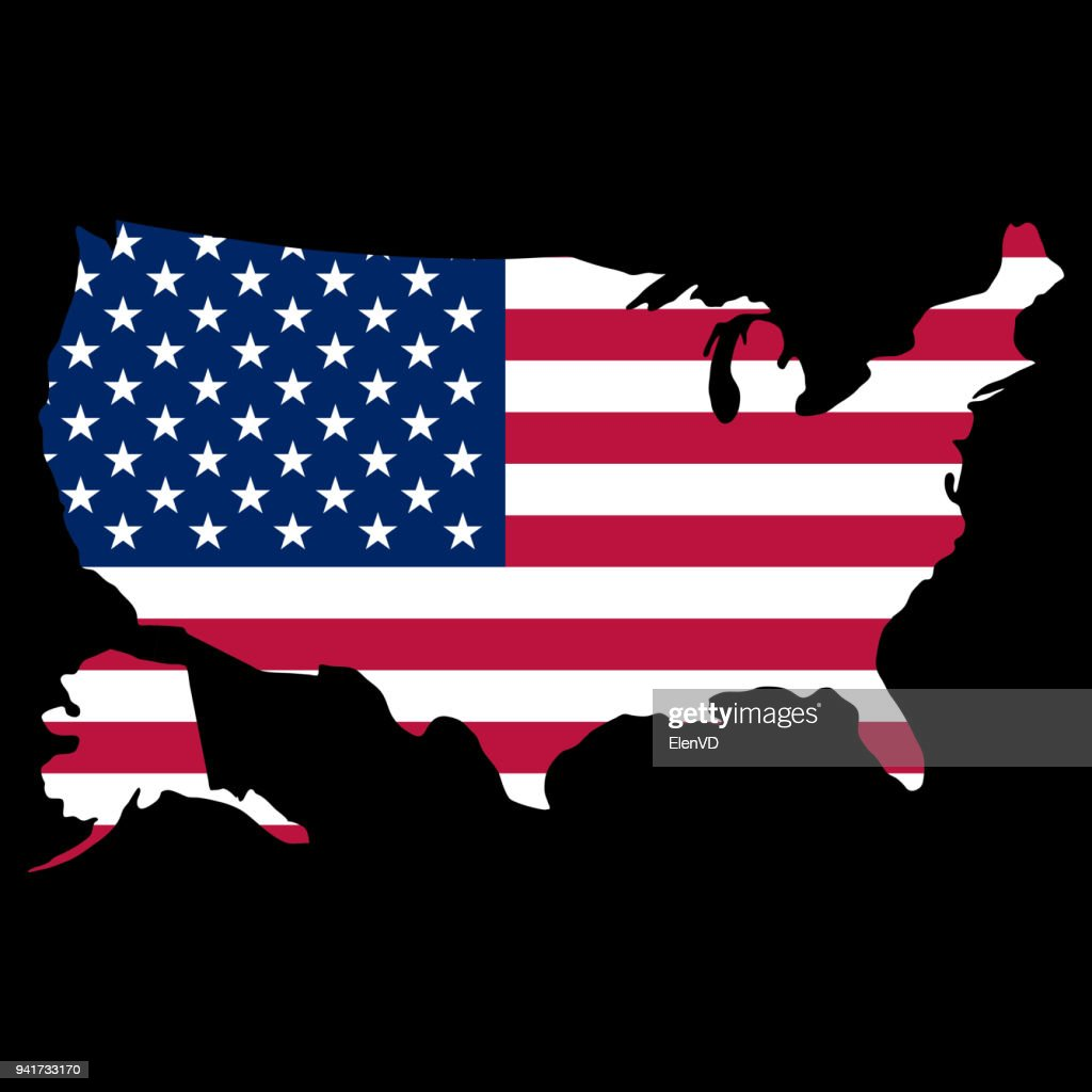 silhouette country borders map of USA on national flag background of vector illustration