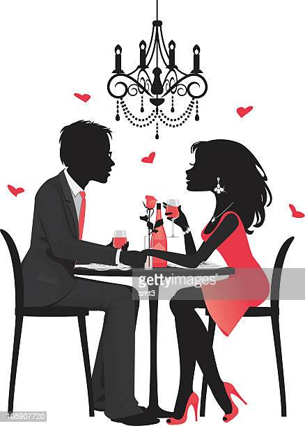 silhouette couple having dinner - flirting stock illustrations, clip art, cartoons, & icons