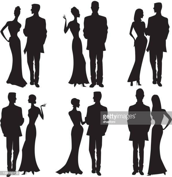 Silhouette couples dresses up, party dress, formal