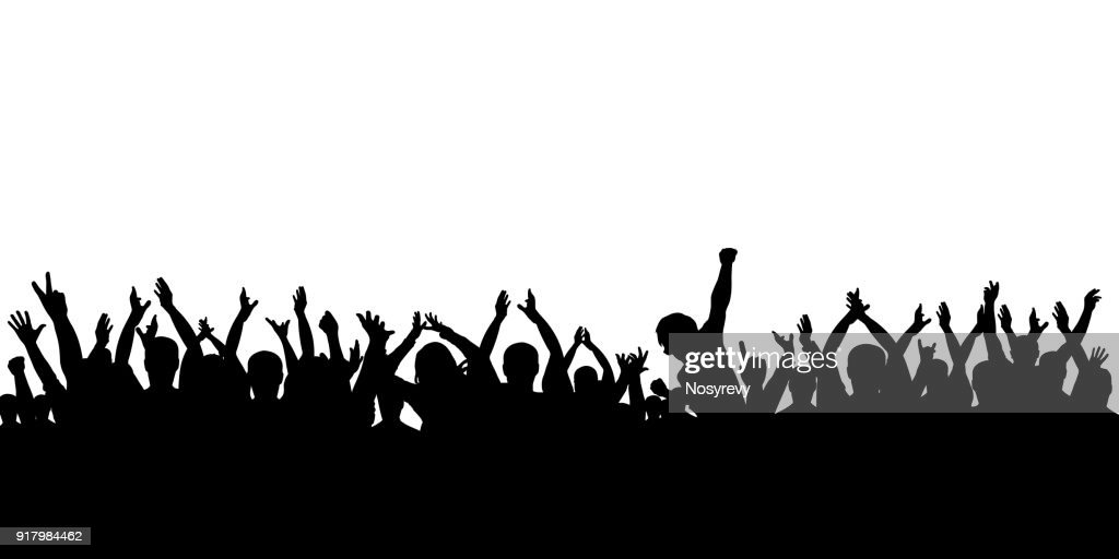 Silhouette crowd cheering