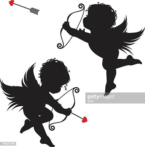 stockillustraties, clipart, cartoons en iconen met silhouette cupids - cupidon