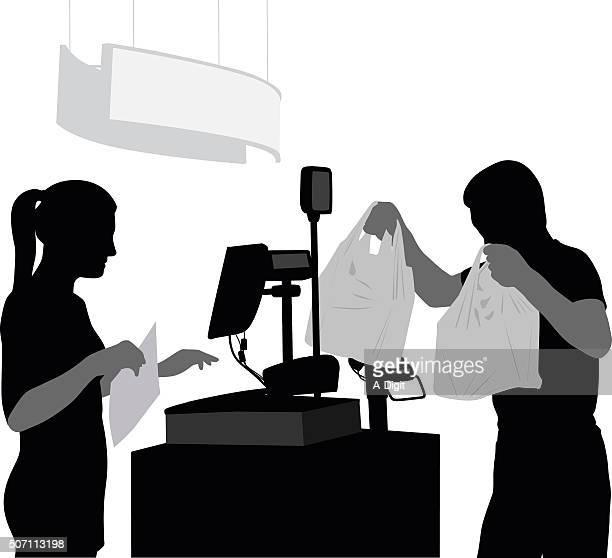 Silhouette Customer Leaving The Till