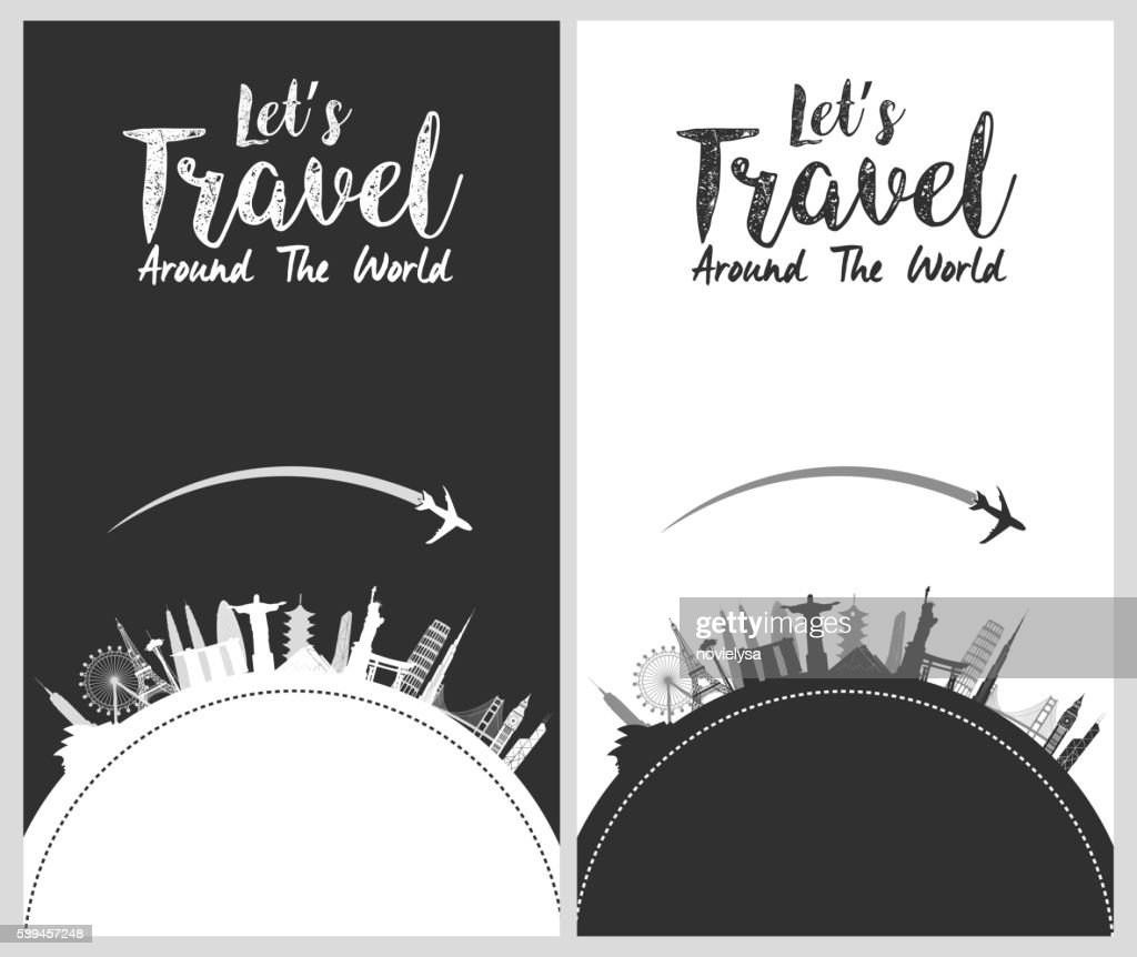 Silhouette design with famous world and landmarks icons