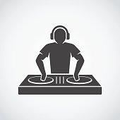 DJ silhouette. Disc jockey icon.