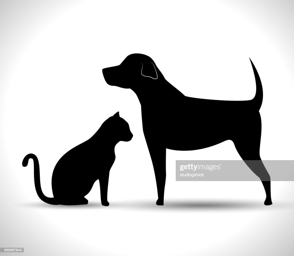 silhouette dog and cat pet icon