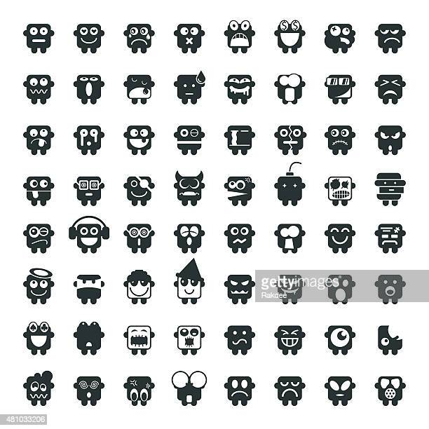 silhouette emoticons 64 icons - surreal stock illustrations, clip art, cartoons, & icons
