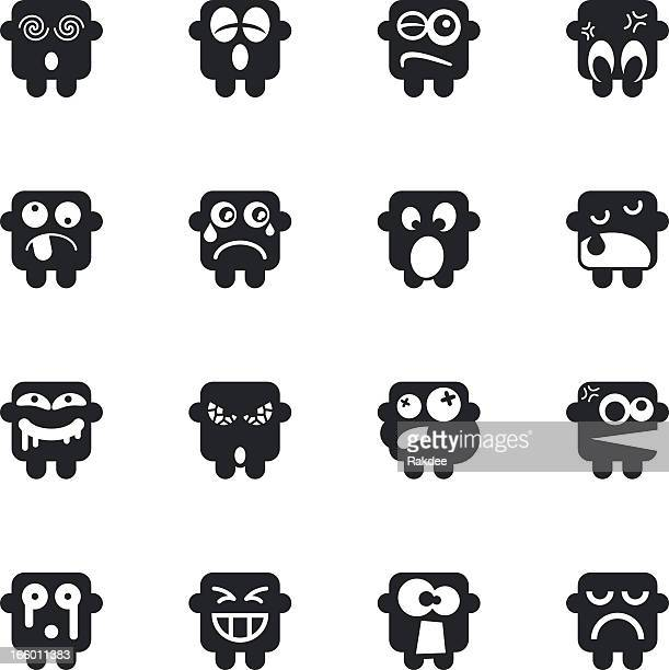 silhouette emoticons | set 8 - sneezing stock illustrations, clip art, cartoons, & icons