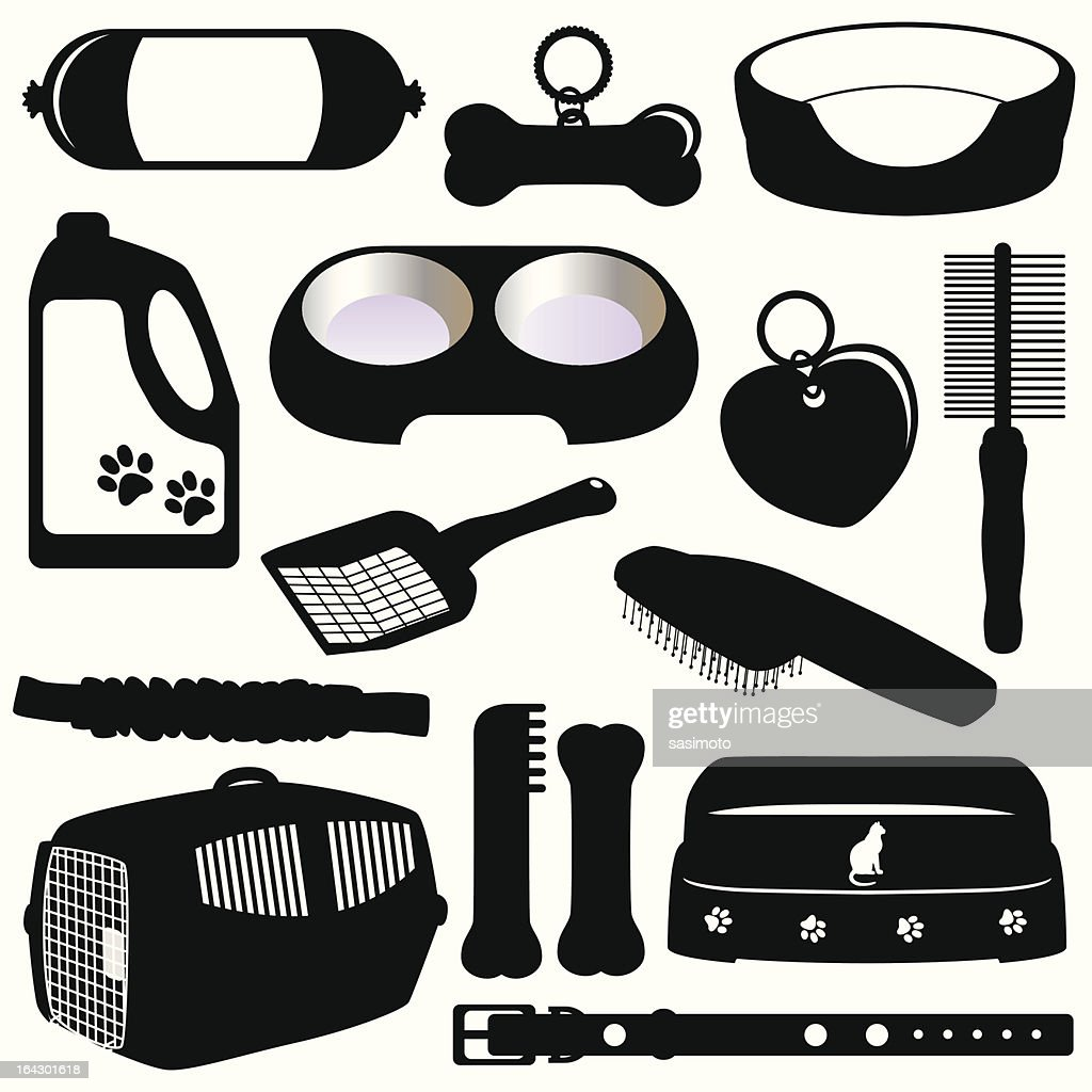 Silhouette (vector Icons) : Equipments for Pet  (Cats/Dogs)