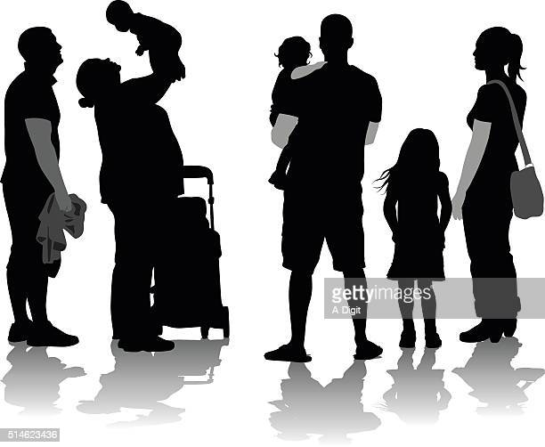 ilustraciones, imágenes clip art, dibujos animados e iconos de stock de silueta de familias - madre e hija