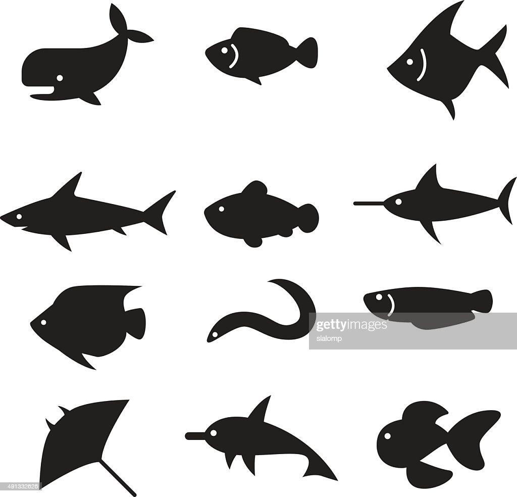 silhouette Fish icon set