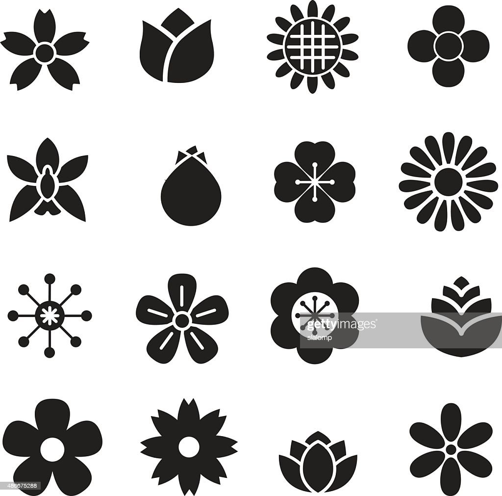 silhouette Flower icons