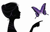 Silhouette girl with butterfly