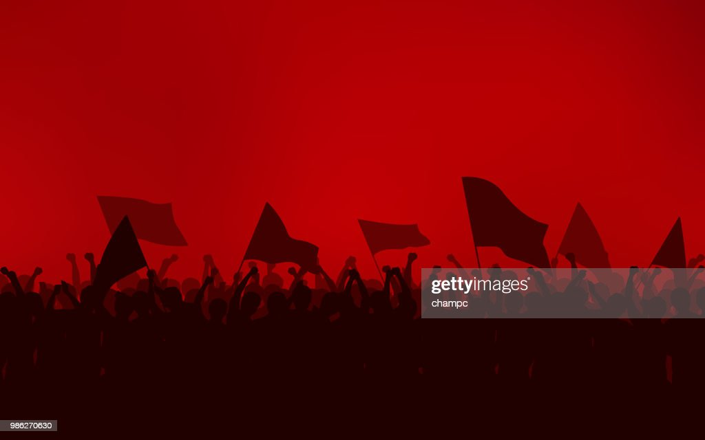 Silhouette group of people Raised Fist and flags Protest in flat icon design with red color sky background