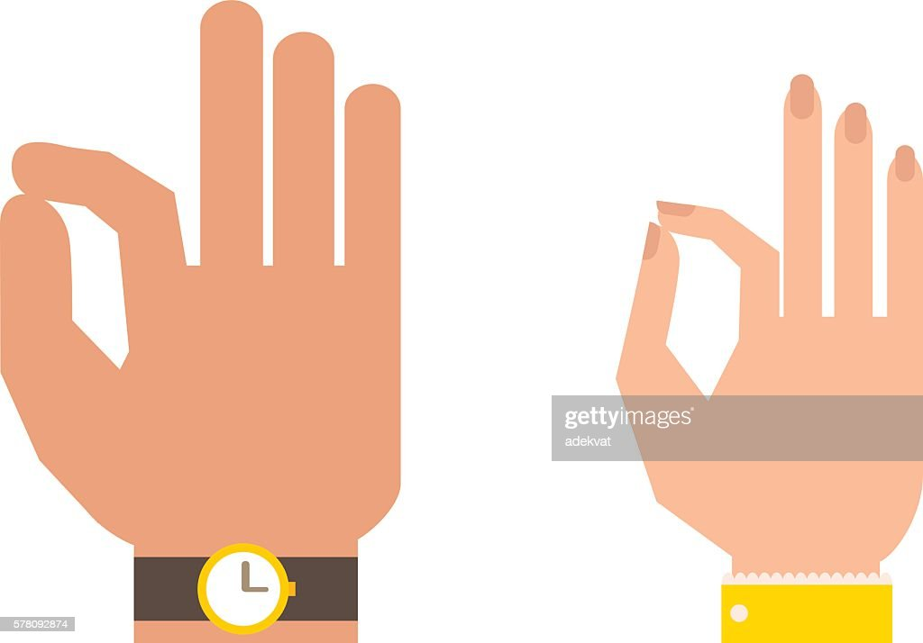 Silhouette hand showing symbol Ok vector illustration.