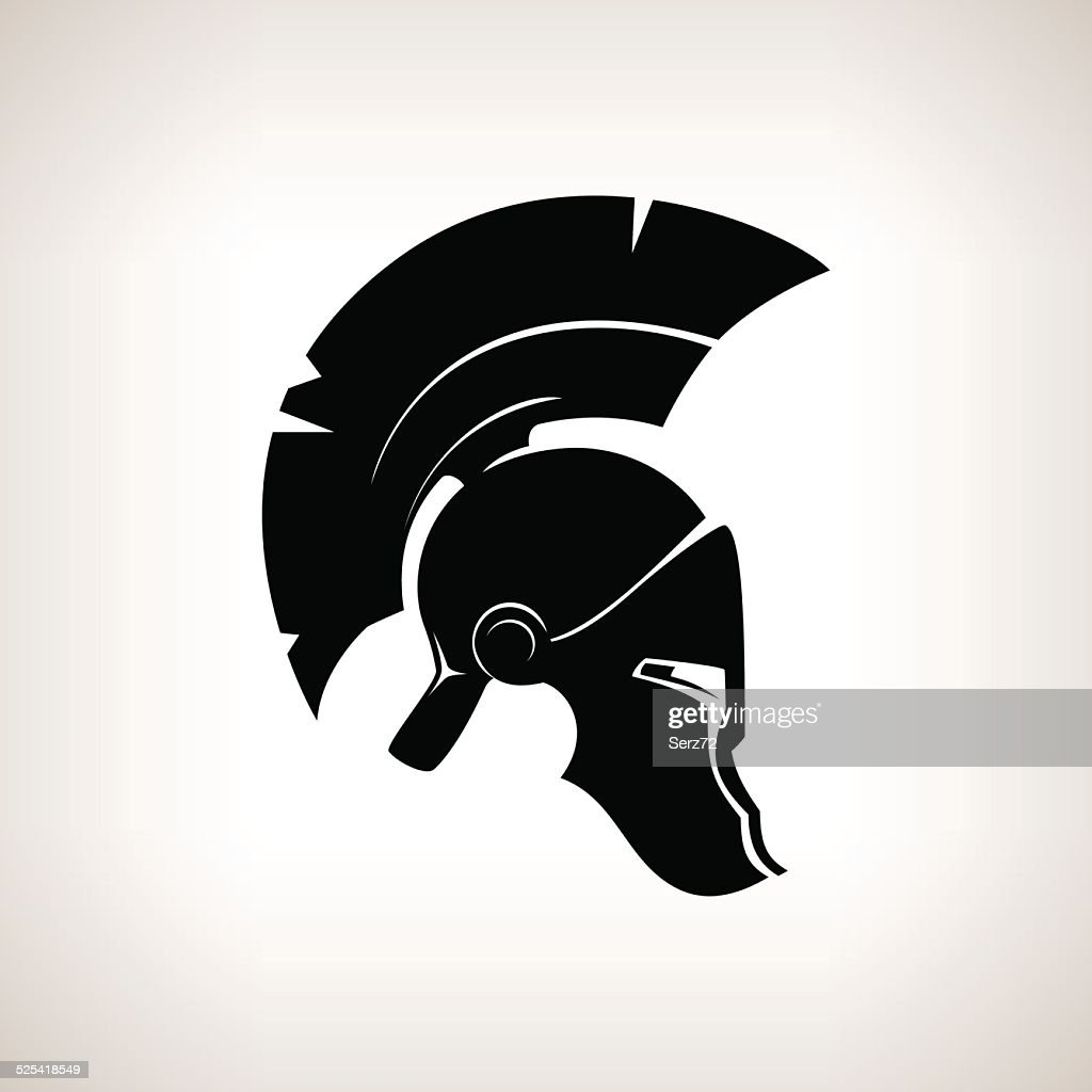 Silhouette helmet on a light background, vector illustration