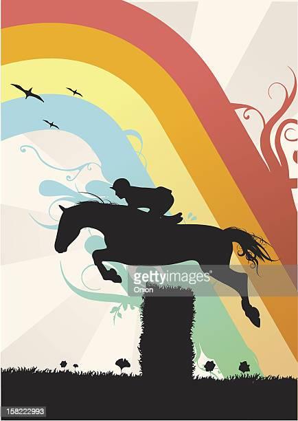 stockillustraties, clipart, cartoons en iconen met silhouette horse jumping - illustration - springen paardensport