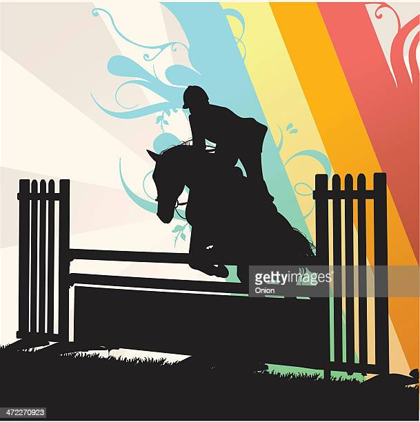 silhouette horse jumping - illustration - equestrian show jumping stock illustrations