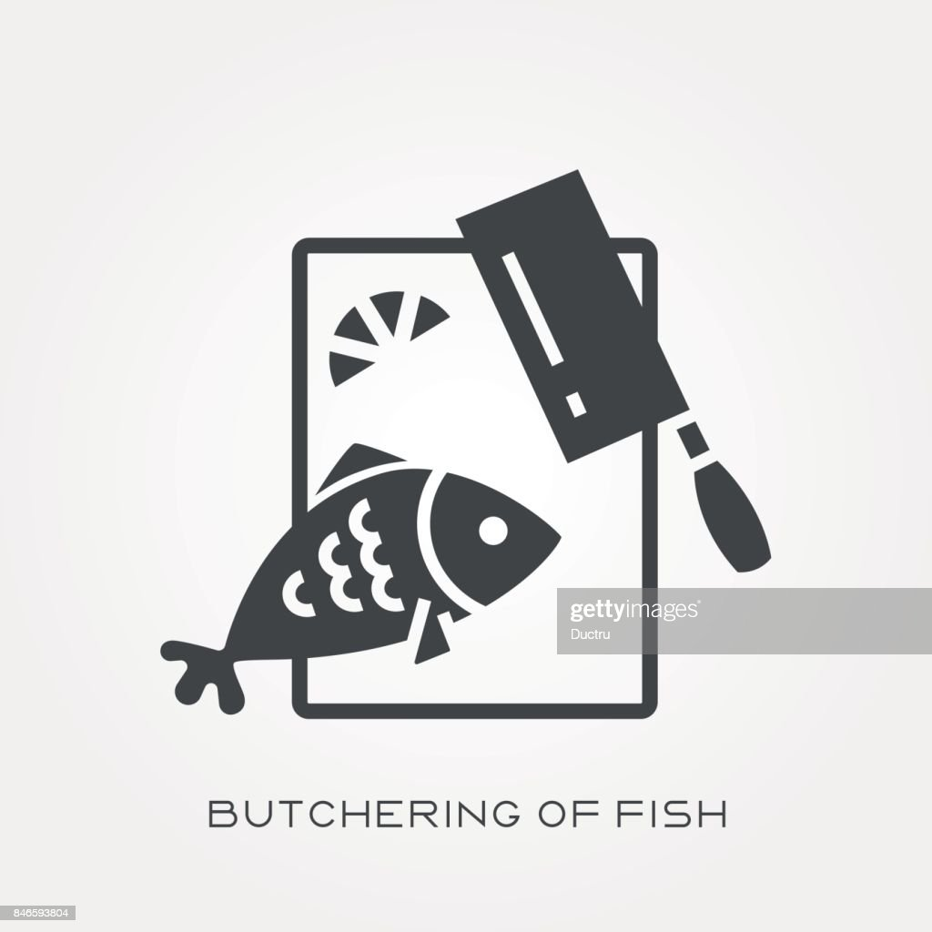 Silhouette icon butchering of fish