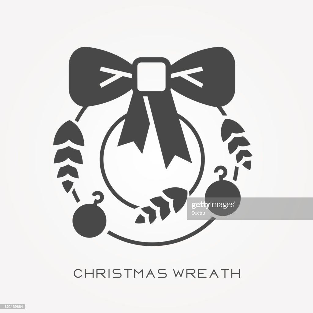 Christmas Wreath Silhouette Vector.Silhouette Icon Christmas Wreath High Res Vector Graphic