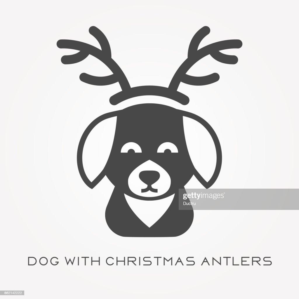 Silhouette Symbol Hund Mit Weihnachten Geweih Vektorgrafik   Getty ...