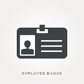 Silhouette icon employee badge