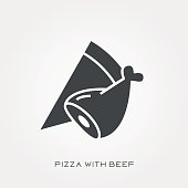 Silhouette icon pizza with beef