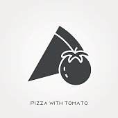 Silhouette icon pizza with tomato