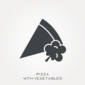Silhouette icon pizza with vegetables