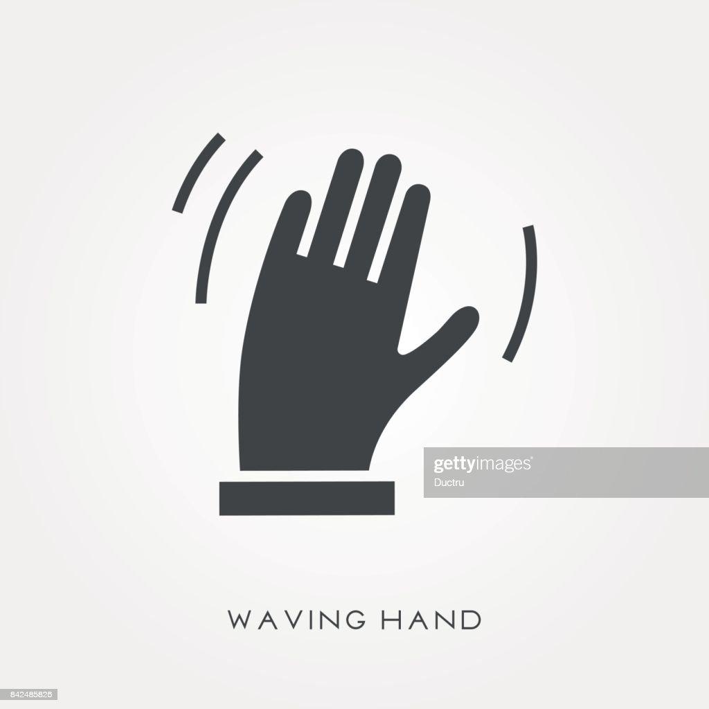 Silhouette icon waving hand