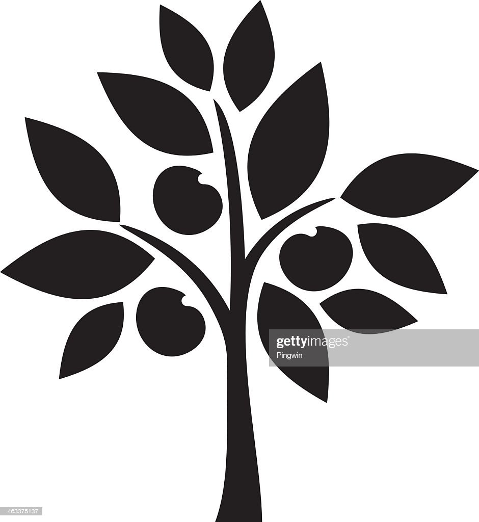 Silhouette illustration drawing of small apple tree