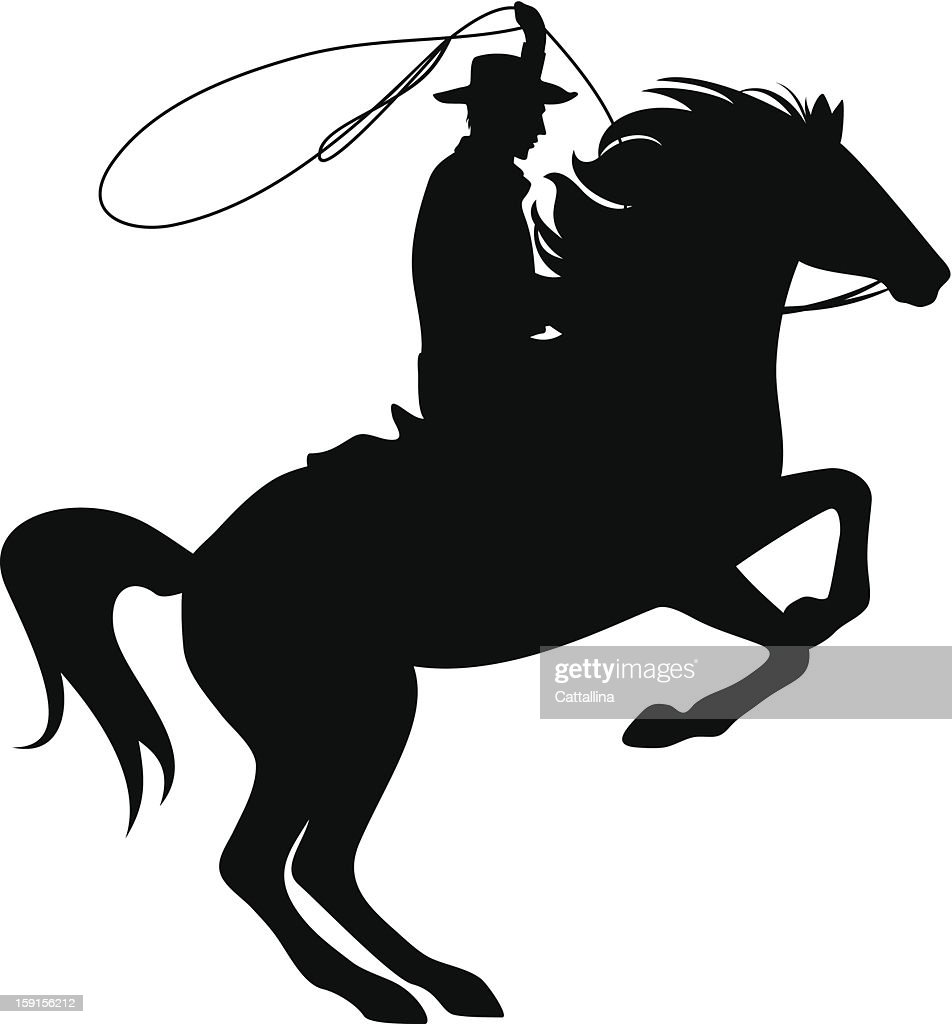 Silhouette illustration of a cowboy riding a horse with rope
