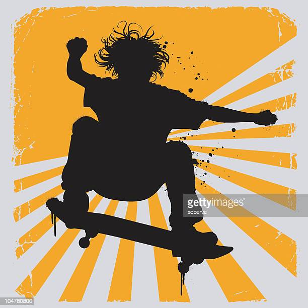 Silhouette illustration of a skater over yellow and white