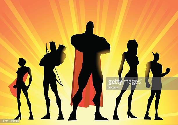 Silhouette illustration of a team of superheroes over yellow